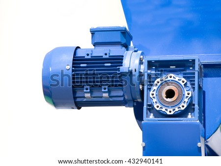 Close up of pump on grinding mill for ecological pellets from biomass against white background - stock photo