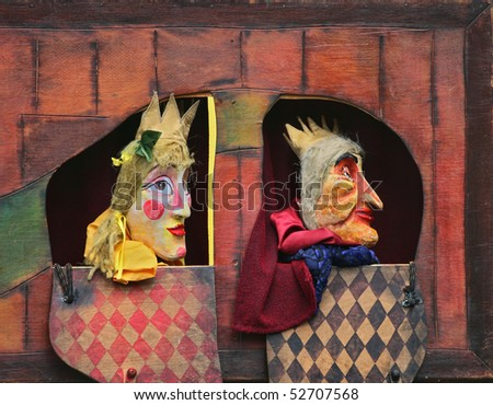 Close-up of Punch and Judy show characters - stock photo