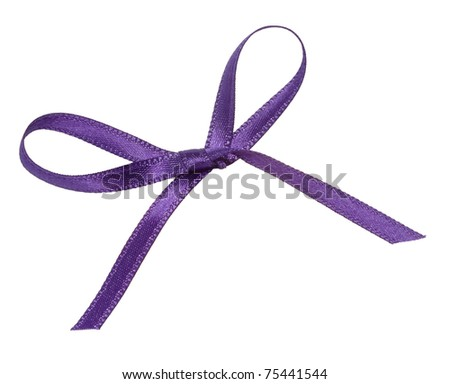 close up of purple ribbon on white background  with clipping path - stock photo