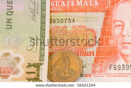 close up of Quetzales, the currency of Guatemala. - stock photo
