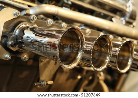 Close up of race engine inlet manifold