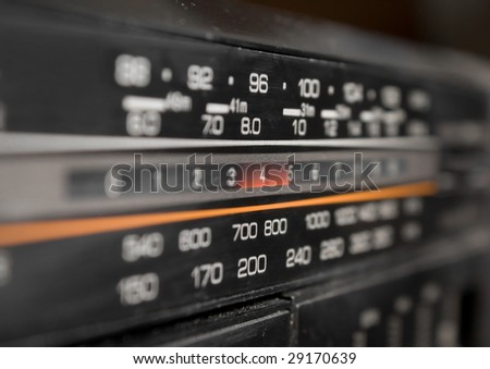 Close-up of radio display
