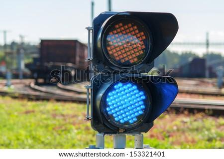 Close-up of railroad semaphore. - stock photo
