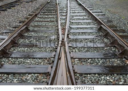 Close-up of railroad track, Northwest Railway Museum, Snoqualmie, Washington State, USA - stock photo