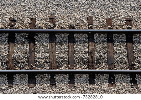 Close up of railway track - stock photo