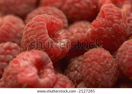 Close-up of raspberries - stock photo