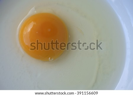 Close-up of raw egg in dish.