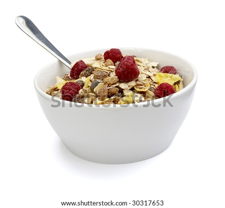 close up of ready to use muesli on white background with clipping path, shadow is not included - stock photo