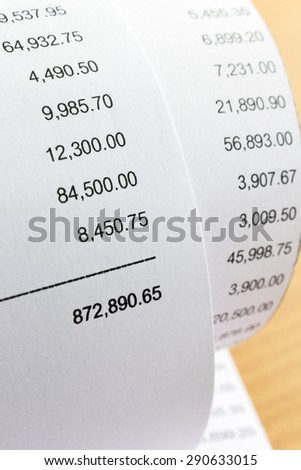Close up of receipt paper. Grocery shopping list - stock photo
