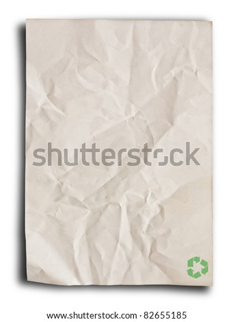 close up of recycle paper on white background. - stock photo