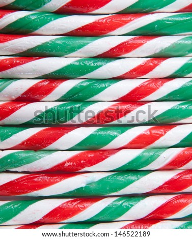 close up of Red and green candy canes - stock photo