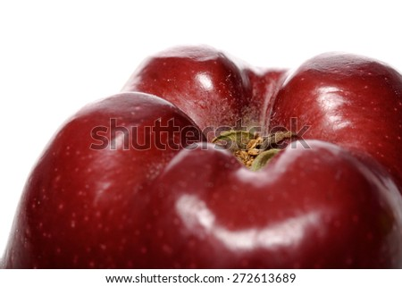 Close-up of red apple in white background - stock photo