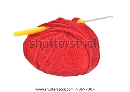 Close up of red ball of yarn on white background - stock photo
