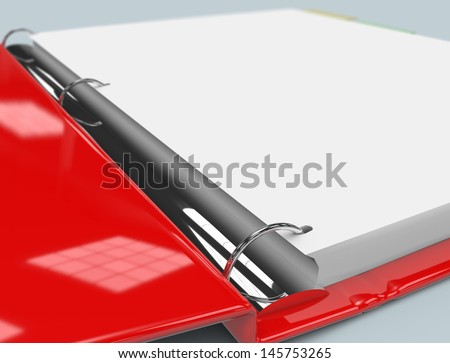 Close up of red binder. - stock photo