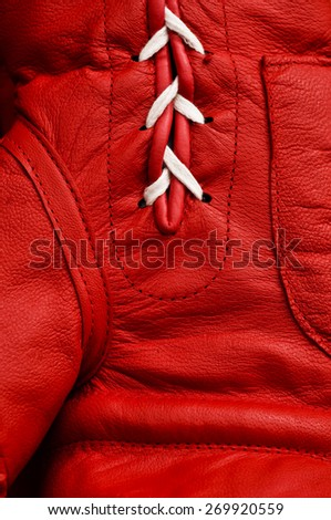 Close up of red boxing glove - stock photo