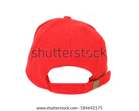 Close up of red cap. Isolated on a white background. - stock photo