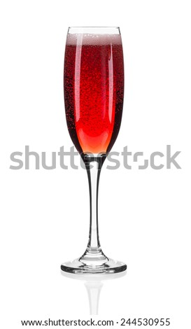 Close up of red champagne glass. Isolated on a white background - stock photo