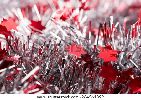 Close up of red christmas streamer - stock photo