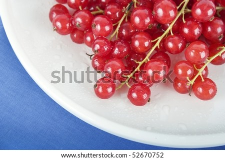 Close up of red currants on white plate with blue tablecloth.