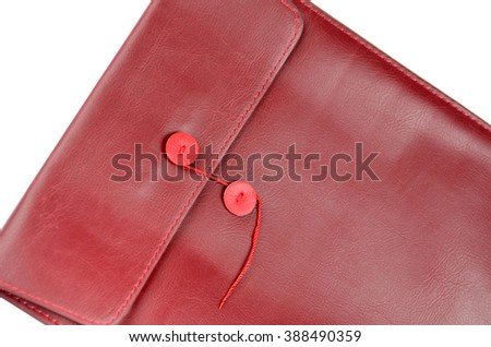 Close up of red envelope with leather texture - stock photo