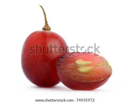 Close up of red grape isolated on white background.