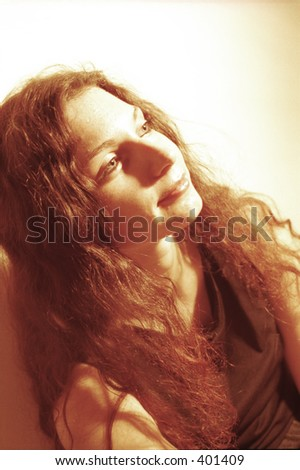 close-up of red-haired girl - stock photo