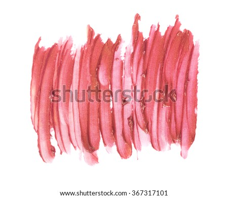 close up of red lipstick texture isolated - stock photo