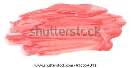 close up of red lipstick texture. It can be used as a background (Selective focus) - stock photo