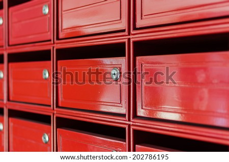 close up of red mailbox as background - stock photo