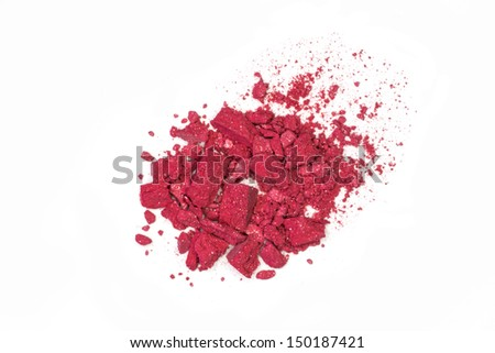 Close up of red make up powder and crushed eyeshadow