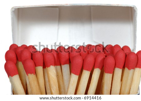 Close up of red matches in the box - stock photo