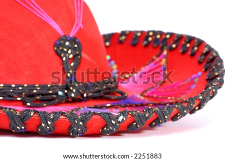 Close-Up of Red Mexican Sombrero - stock photo
