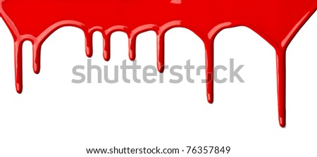 close up of red paint leaking on white background - stock photo