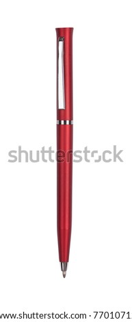 Close up of red pen isolated with clipping path on white - stock photo