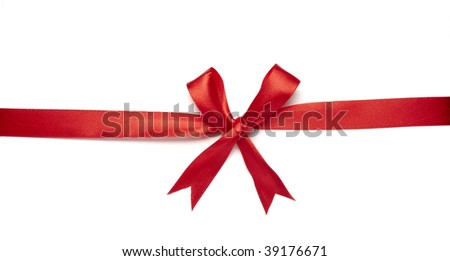 close up of  red ribbon on white background on white background with clipping path - stock photo