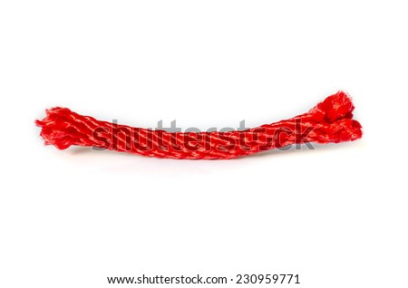 Close up of Red Rope Isolated On White Background . - stock photo