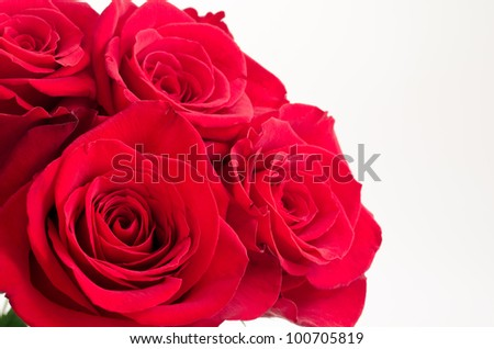Close up of red rose bouquet in left side