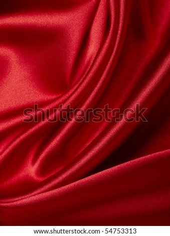 close up of red silk textured cloth background - stock photo