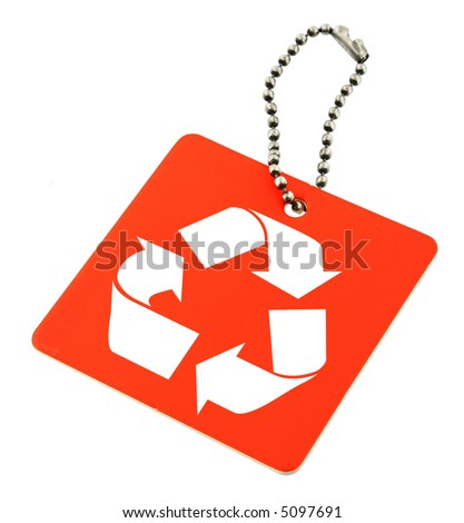 close-up of red tag with recyclable symbol isolated on white background - stock photo