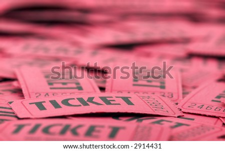 Close up of red tickets in pile