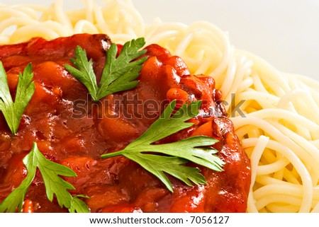 close-up of red tomato sauce on spaghetti