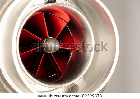close-up of red turbo fans from an automobile - stock photo
