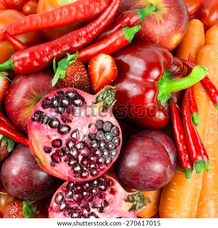 Close up of red vegetable and fruit forming background - stock photo