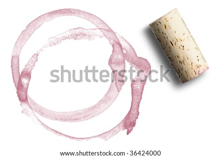 close up of red wine marks and cork - stock photo