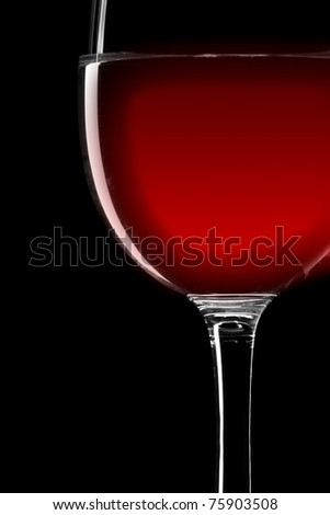 Close-up of red wine wineglass isolated on black