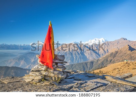 close up of religious flag in Indian Himalaya - stock photo