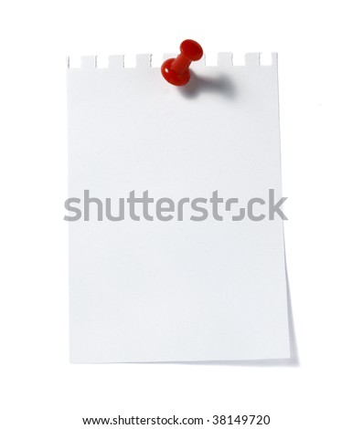 close up of  reminder with red push pinon white background with clipping path - stock photo