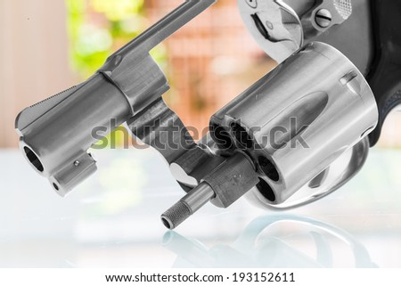 Close up of revolver cylinder - stock photo