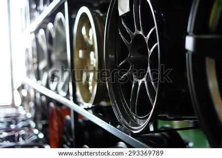 Close up of rims from a  car - stock photo