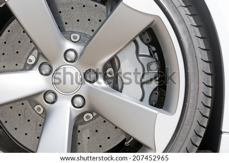 Close up of rims from a sport car